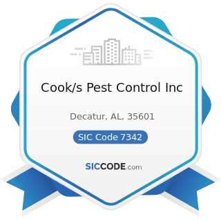 Cook/s Pest Control Inc - SIC Code 7342 - Disinfecting and Pest Control Services