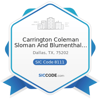 Carrington Coleman Sloman And Blumenthal LLP - SIC Code 8111 - Legal Services