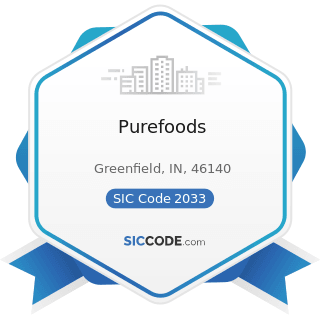 Purefoods - SIC Code 2033 - Canned Fruits, Vegetables, Preserves, Jams, and Jellies
