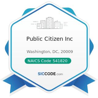Public Citizen Inc - NAICS Code 541820 - Public Relations Agencies