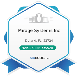 Mirage Systems Inc - NAICS Code 339920 - Sporting and Athletic Goods Manufacturing