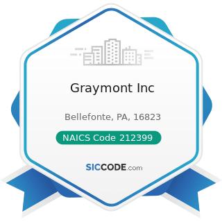 Graymont Inc - NAICS Code 212399 - All Other Nonmetallic Mineral Mining
