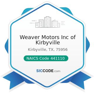 Weaver Motors Inc of Kirbyville - NAICS Code 441110 - New Car Dealers