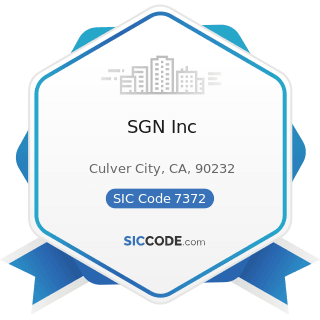 SGN Inc - SIC Code 7372 - Prepackaged Software