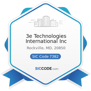 3e Technologies International Inc - SIC Code 7382 - Security Systems Services