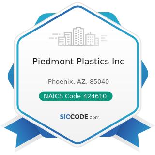 Piedmont Plastics Inc - NAICS Code 424610 - Plastics Materials and Basic Forms and Shapes...