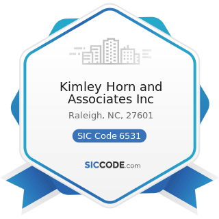 Kimley Horn and Associates Inc - SIC Code 6531 - Real Estate Agents and Managers