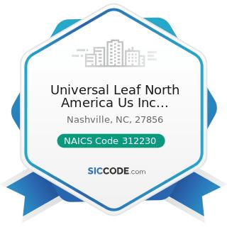 Universal Leaf North America Us Inc Nashville Faclllty - NAICS Code 312230 - Tobacco...