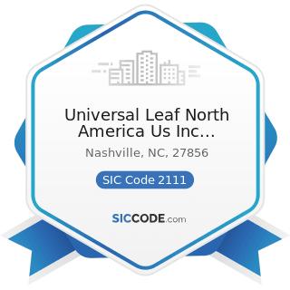 Universal Leaf North America Us Inc Nashville Faclllty - SIC Code 2111 - Cigarettes