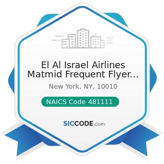El Al Israel Airlines Matmid Frequent Flyer Club - NAICS Code 481111 - Scheduled Passenger Air...
