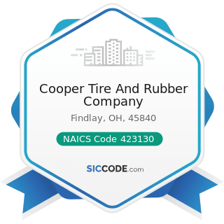 Cooper Tire And Rubber Company - NAICS Code 423130 - Tire and Tube Merchant Wholesalers
