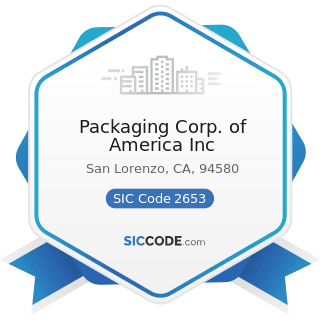 Packaging Corp. of America Inc - SIC Code 2653 - Corrugated and Solid Fiber Boxes