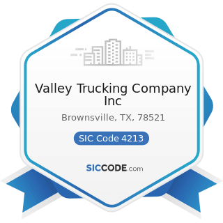 Valley Trucking Company Inc - SIC Code 4213 - Trucking, except Local