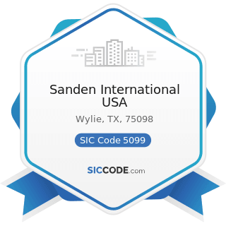 Sanden International USA - SIC Code 5099 - Durable Goods, Not Elsewhere Classified
