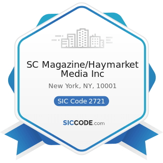 SC Magazine/Haymarket Media Inc - SIC Code 2721 - Periodicals: Publishing, or Publishing and...
