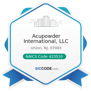 Acupowder International, LLC - NAICS Code 423510 - Metal Service Centers and Other Metal...