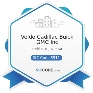 Velde Cadillac Buick GMC Inc - SIC Code 5511 - Motor Vehicle Dealers (New and Used)