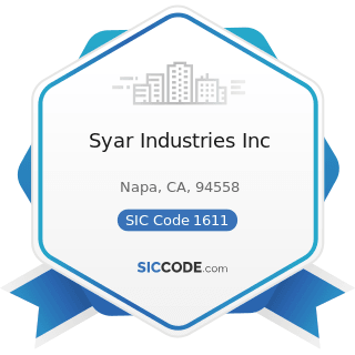 Syar Industries Inc - SIC Code 1611 - Highway and Street Construction, except Elevated Highways