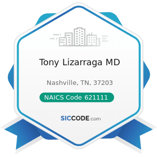 Tony Lizarraga MD - NAICS Code 621111 - Offices of Physicians (except Mental Health Specialists)