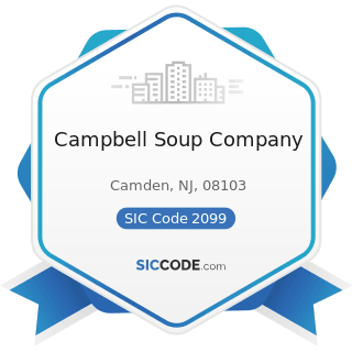 Campbell Soup Company - SIC Code 2099 - Food Preparations, Not Elsewhere Classified