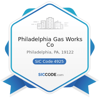 Philadelphia Gas Works Co - SIC Code 4925 - Mixed, Manufactured, or Liquefied Petroleum Gas...