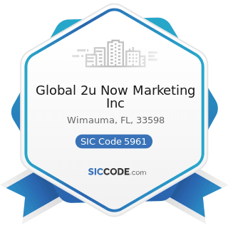 Global 2u Now Marketing Inc - SIC Code 5961 - Catalog and Mail-Order Houses