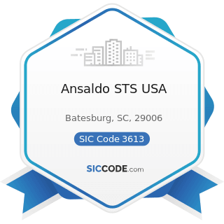 Ansaldo STS USA - SIC Code 3613 - Switchgear and Switchboard Apparatus