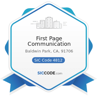 First Page Communication - SIC Code 4812 - Radiotelephone Communications