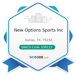 New Options Sports Inc - NAICS Code 339113 - Surgical Appliance and Supplies Manufacturing