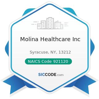 Molina Healthcare Inc - NAICS Code 921120 - Legislative Bodies