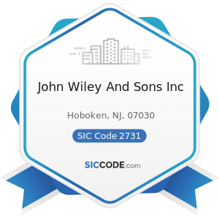 John Wiley And Sons Inc - SIC Code 2731 - Books: Publishing, or Publishing and Printing