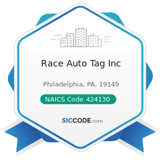 Race Auto Tag Inc - NAICS Code 424130 - Industrial and Personal Service Paper Merchant...