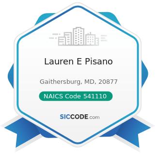 Lauren E Pisano - NAICS Code 541110 - Offices of Lawyers