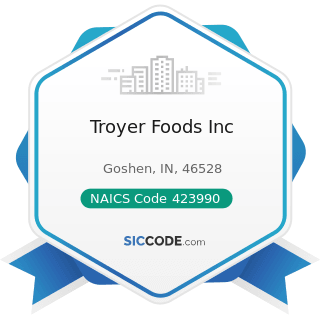 Troyer Foods Inc - NAICS Code 423990 - Other Miscellaneous Durable Goods Merchant Wholesalers