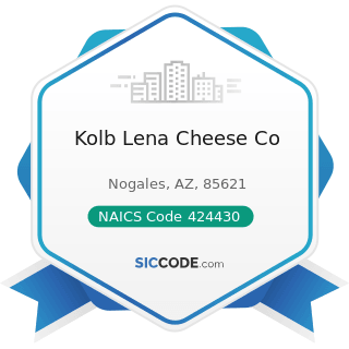 Kolb Lena Cheese Co - NAICS Code 424430 - Dairy Product (except Dried or Canned) Merchant...
