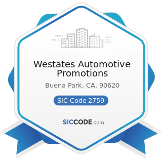 Westates Automotive Promotions - SIC Code 2759 - Commercial Printing, Not Elsewhere Classified