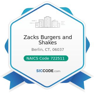 Zacks Burgers and Shakes - NAICS Code 722511 - Full-Service Restaurants