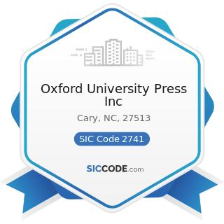 Oxford University Press Inc - SIC Code 2741 - Miscellaneous Publishing