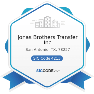 Jonas Brothers Transfer Inc - SIC Code 4213 - Trucking, except Local