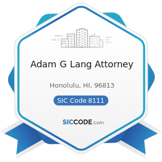 Adam G Lang Attorney - SIC Code 8111 - Legal Services
