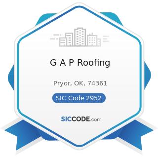 G A P Roofing - SIC Code 2952 - Asphalt Felts and Coatings