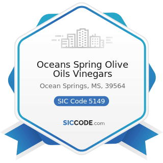 Oceans Spring Olive Oils Vinegars - SIC Code 5149 - Groceries and Related Products, Not...