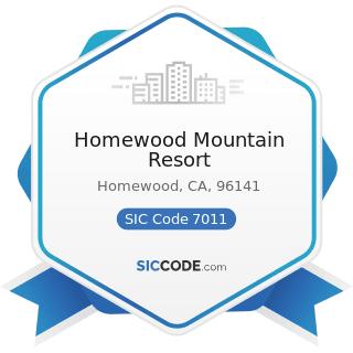 Homewood Mountain Resort - SIC Code 7011 - Hotels and Motels