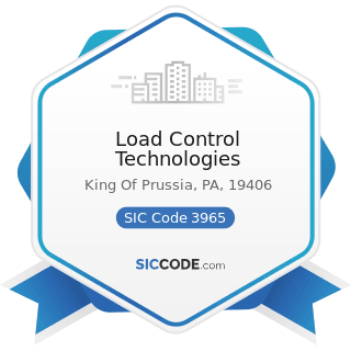 Load Control Technologies - SIC Code 3965 - Fasteners, Buttons, Needles, and Pins