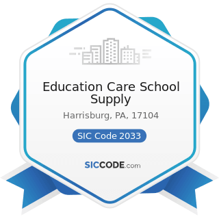 Education Care School Supply - SIC Code 2033 - Canned Fruits, Vegetables, Preserves, Jams, and...