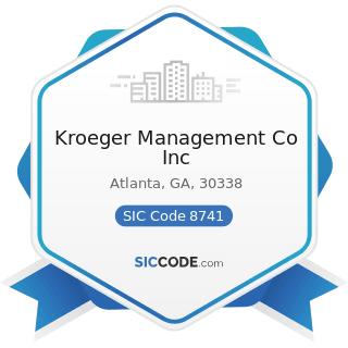 Kroeger Management Co Inc - SIC Code 8741 - Management Services