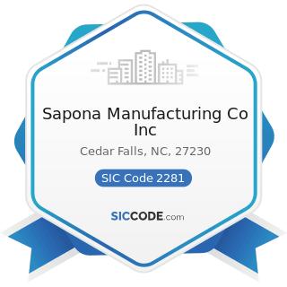 Sapona Manufacturing Co Inc - SIC Code 2281 - Yarn Spinning Mills