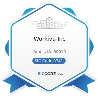 Workiva Inc - SIC Code 8741 - Management Services