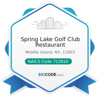 Spring Lake Golf Club Restaurant - NAICS Code 713910 - Golf Courses and Country Clubs