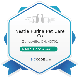 Nestle Purina Pet Care Co - NAICS Code 424490 - Other Grocery and Related Products Merchant...